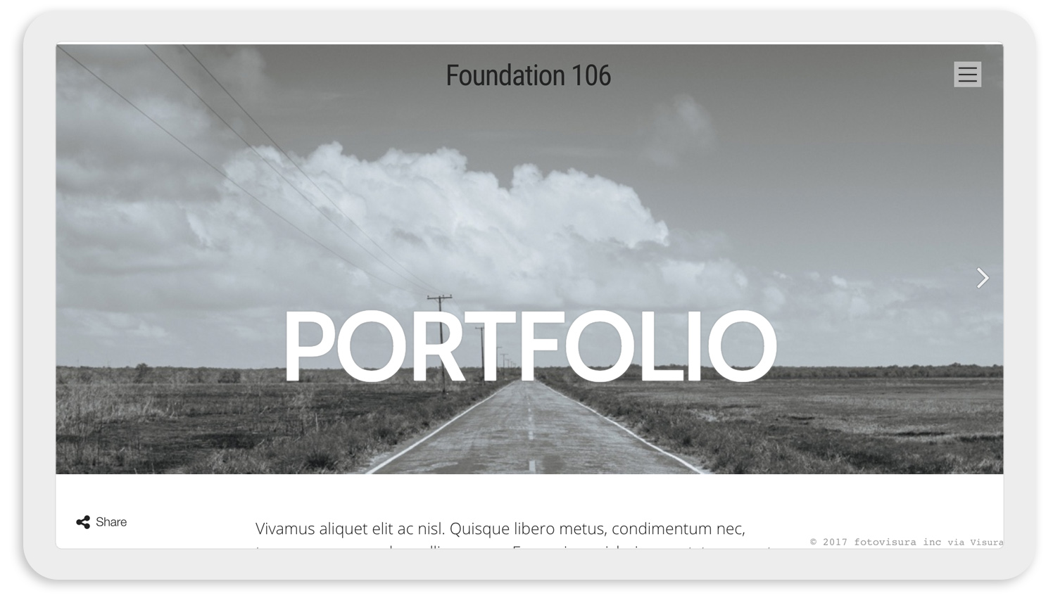 Visura Photography websites - desktop template 106